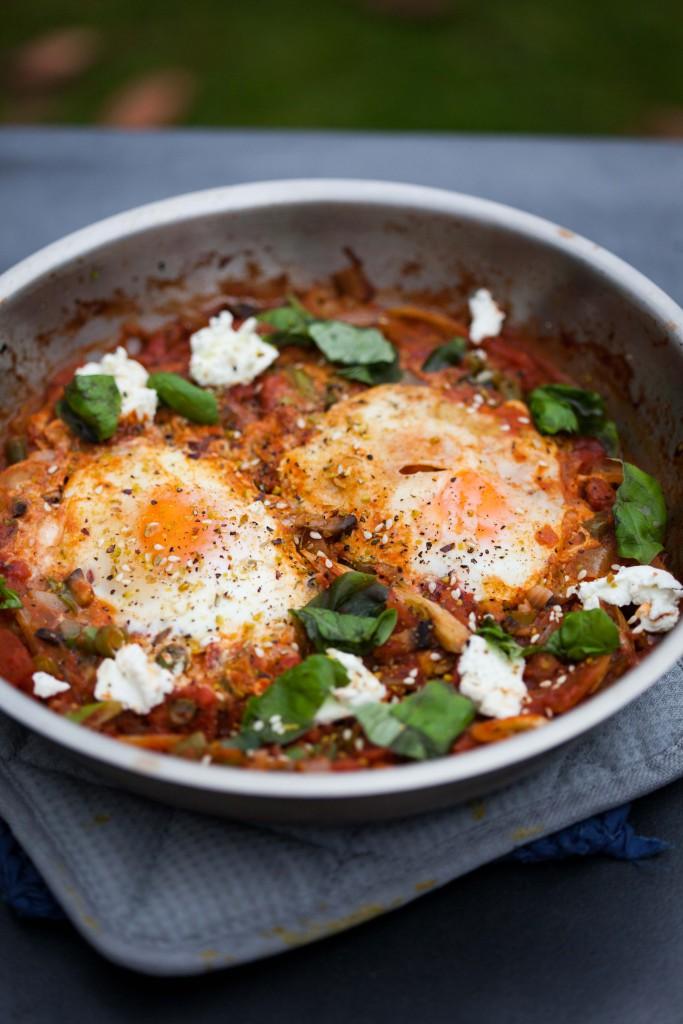 shakshuka, eggs, dukkah