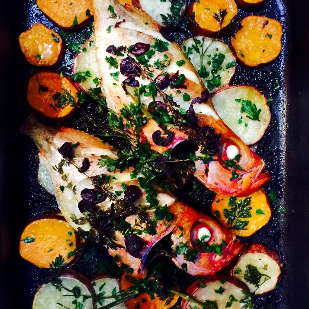 Roasted snapper with duo kumara