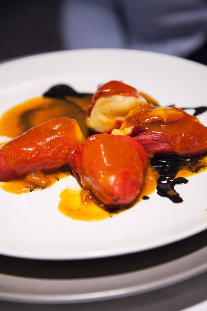 Crab stuffed piquillo peppers over a creamy prawn and leek soup