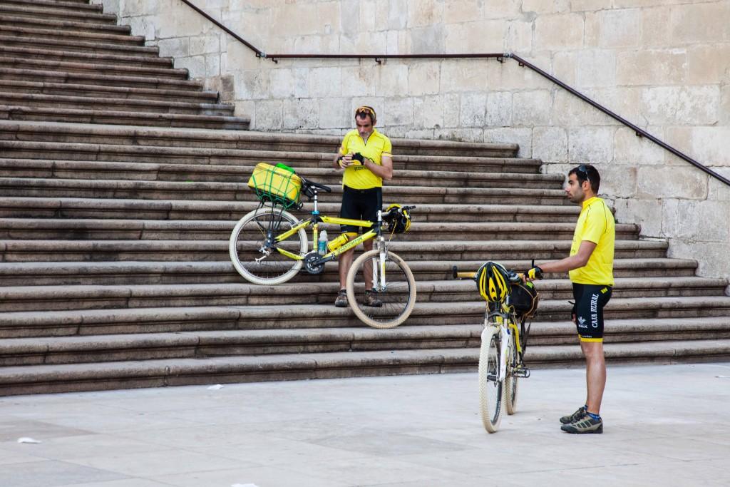 Cyclists taking a break on the Camine de Santiago