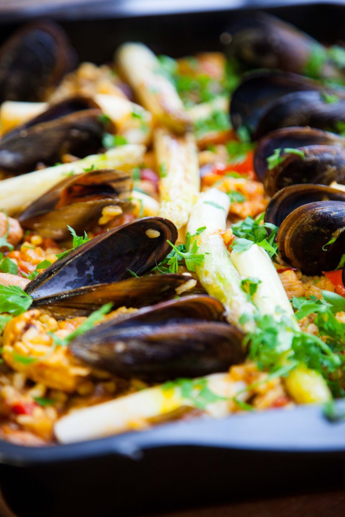 Paella in a baking tray