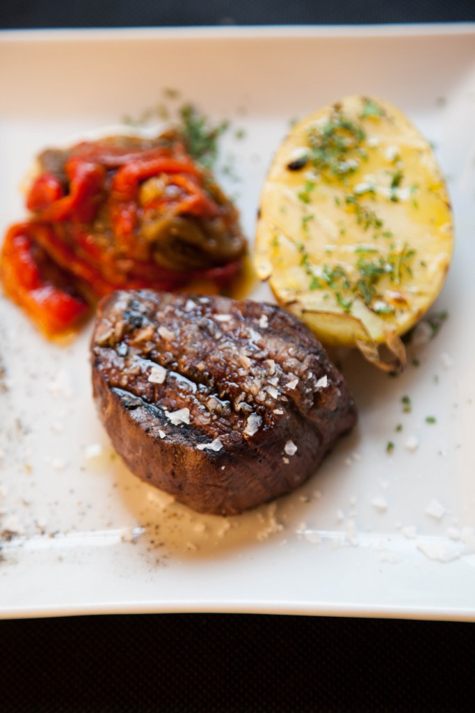Fillet of beef served with grilled peppers and potato