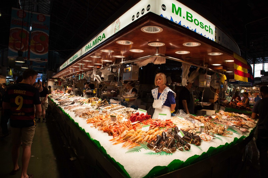 Seafood purveyor in the La Boqueria market