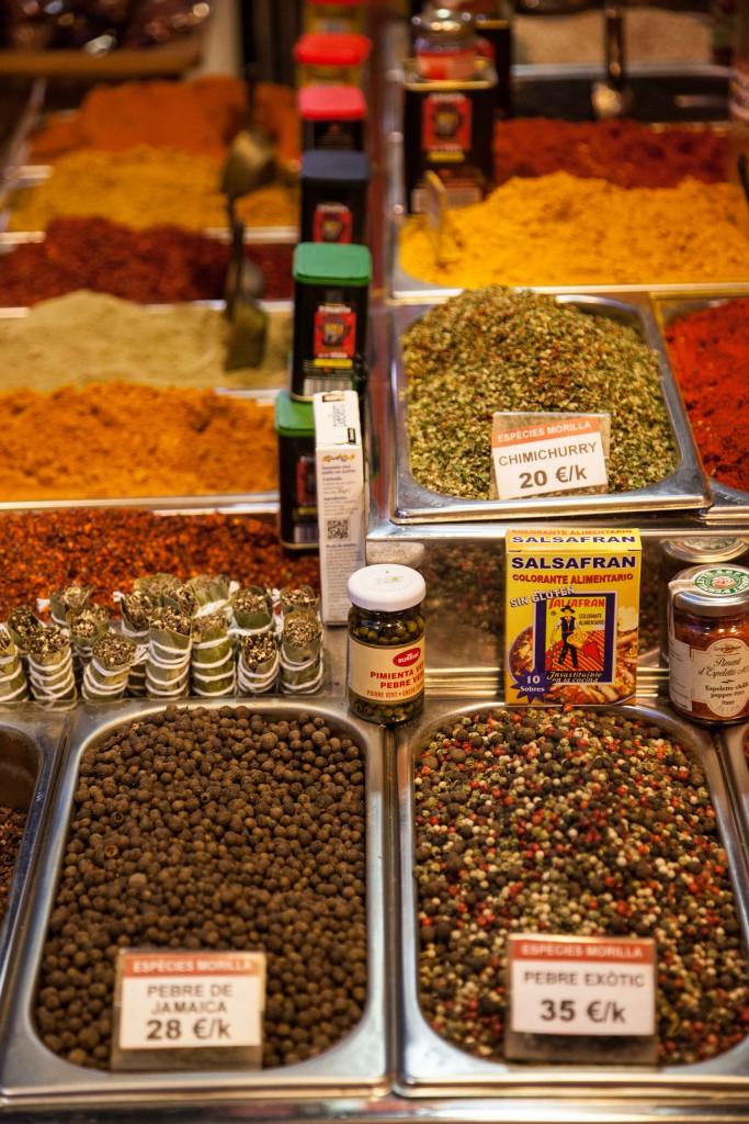 Spices sold at La Boqueria Market