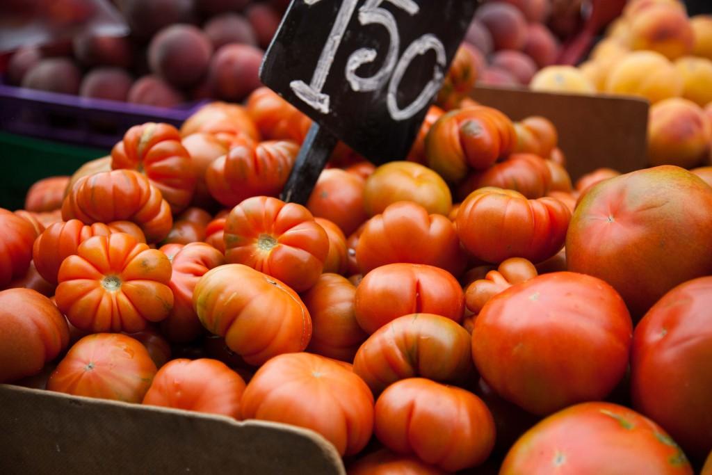 Plump tomatoes at La Boqueria Market