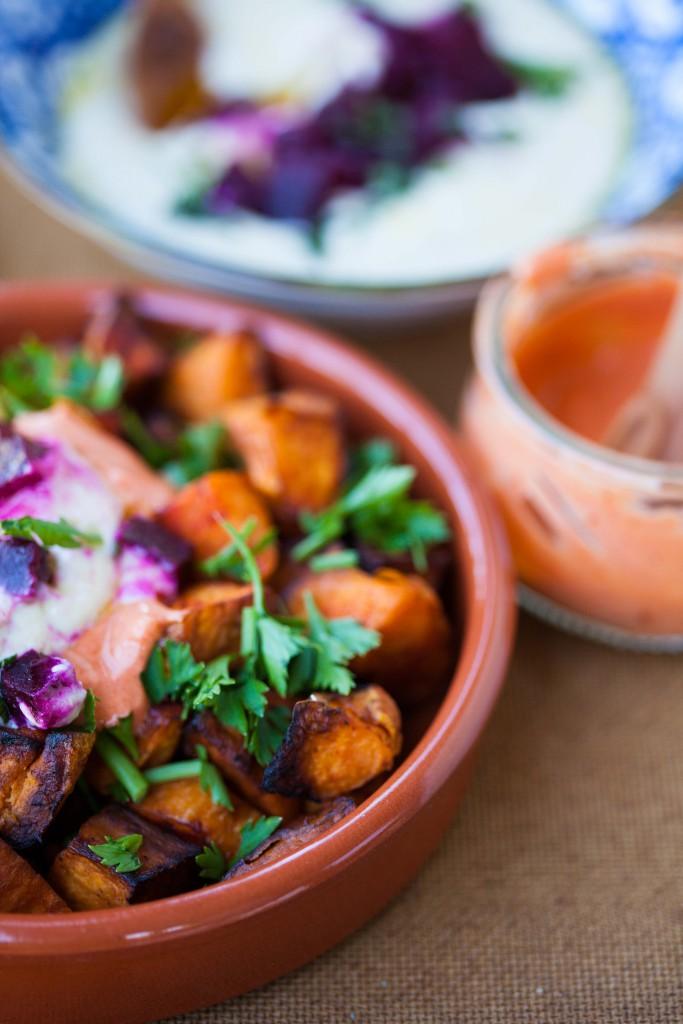Healthy patatas bravas