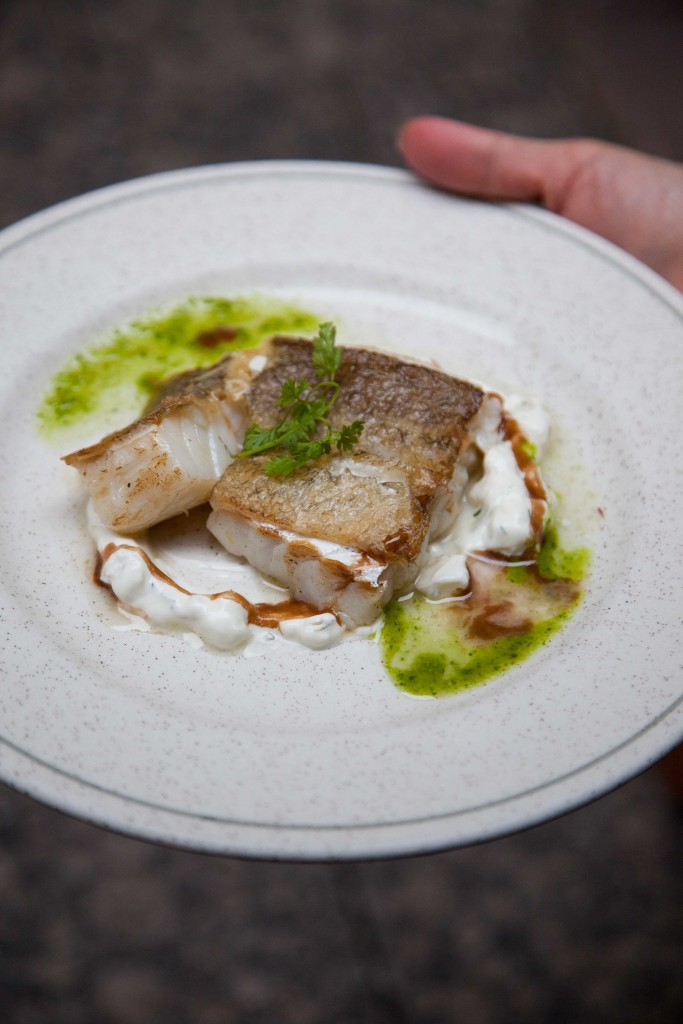 My favourite for the night: roasted confit of cod with tzatziki.