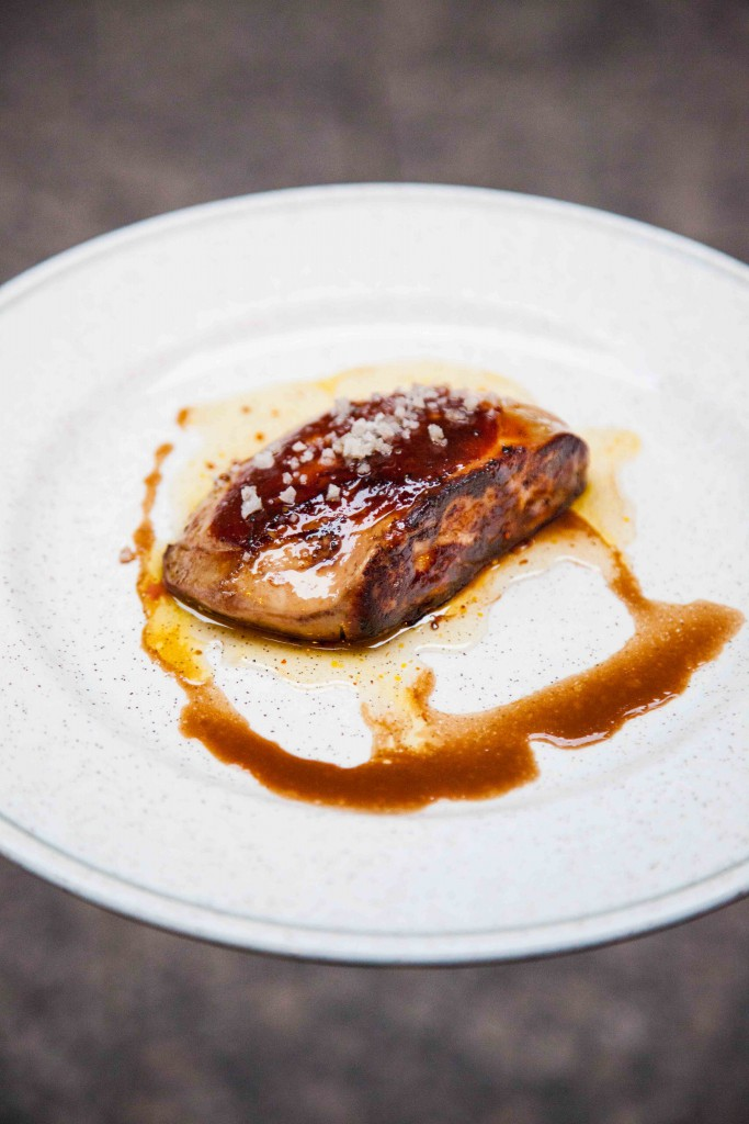 Pan fried Montford foie gras with honey, mustard and orange peel