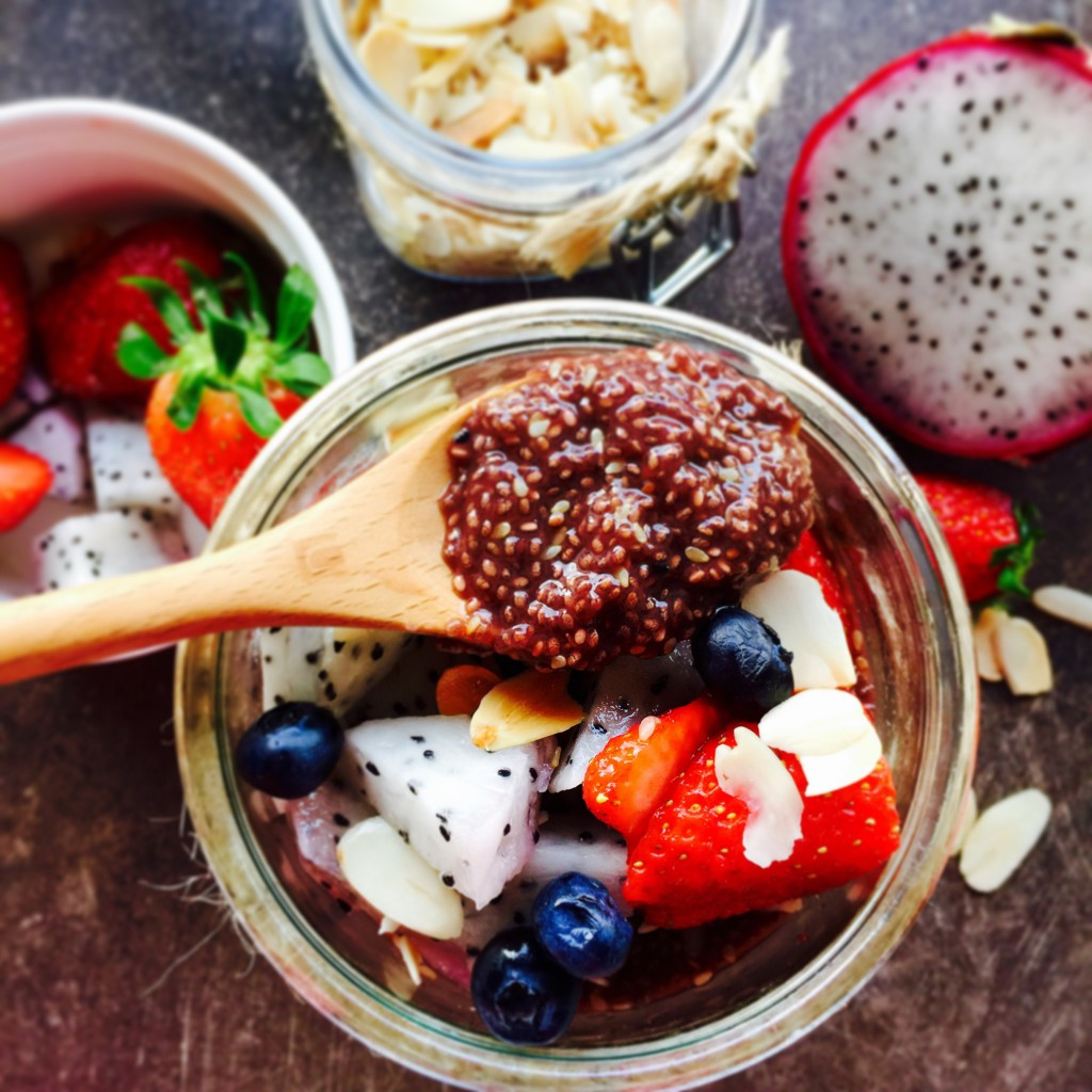 Vegan chia seed pudding with fruits