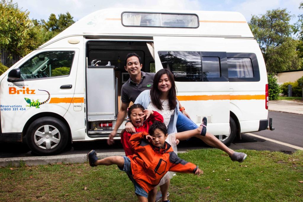 Family shot in tourist park in Margaret River