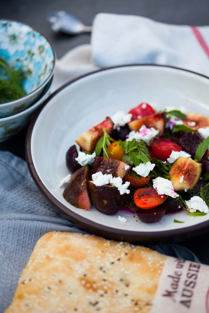Beautiful beet salad with figs, heirloom tomatoes mint and goats cheese