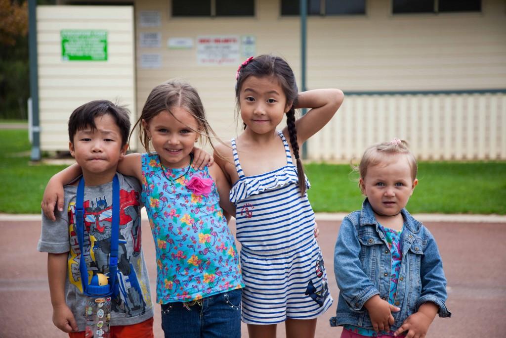 Kids in caravan park