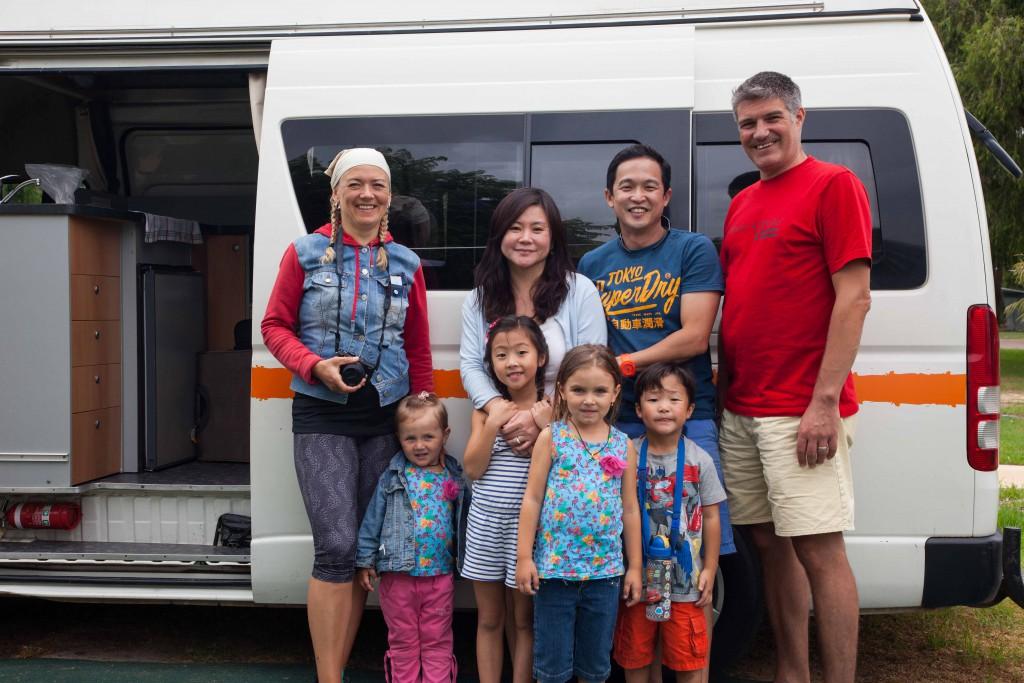 Families in caravan park