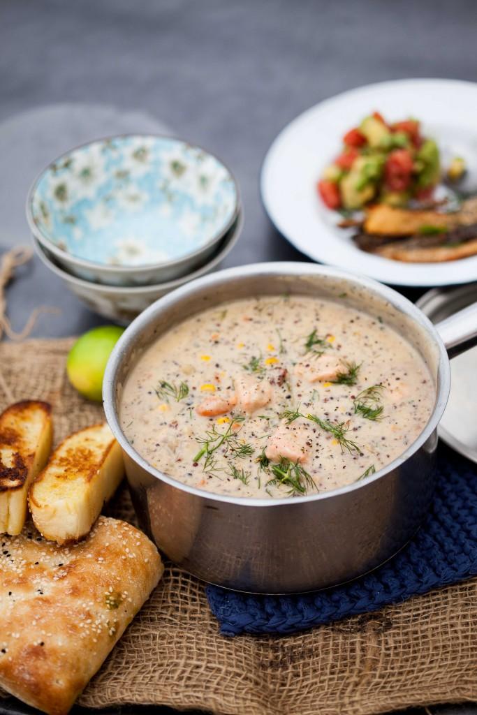 Salmon quinoa chowder