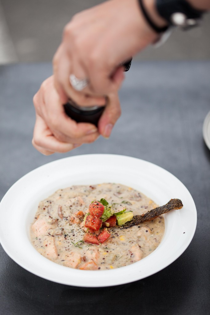 Slmon quinoa chowder, food styling