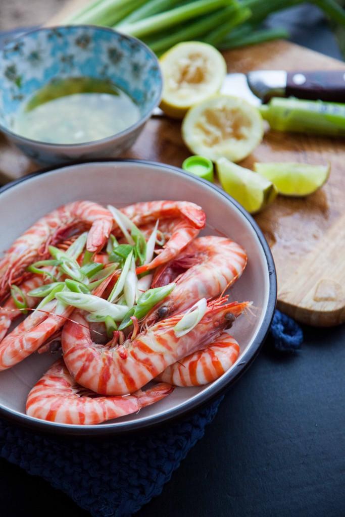 WA tiger prawns , wasabi vinaigrette