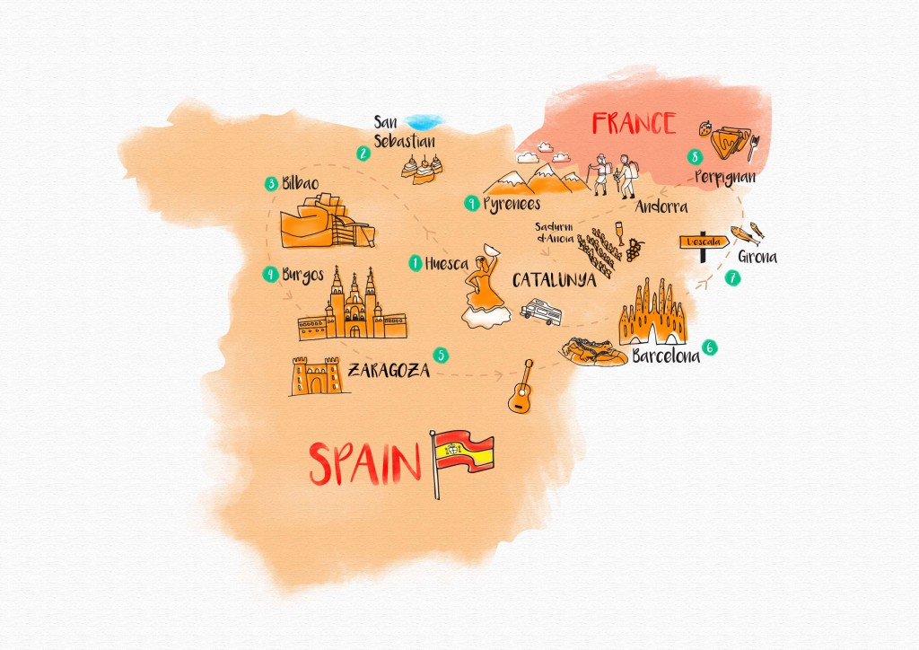 A snapshot of our journey through Spain across the different regions.