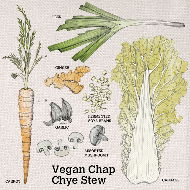 Ingredients used for vegan chap chye stew
