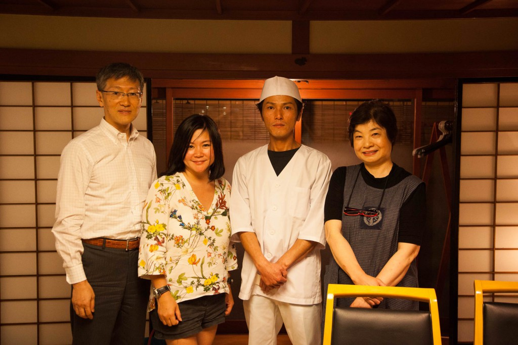 Standing next to me, the President of Yawataya, Yutaka san together with the chef and landlady of Zenkoji Monzensaryo Yayoiza, serving traditional Shinano cuisine at the Zenkoji temple area