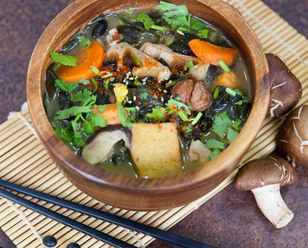 Vegan red rice miso stew with wakame