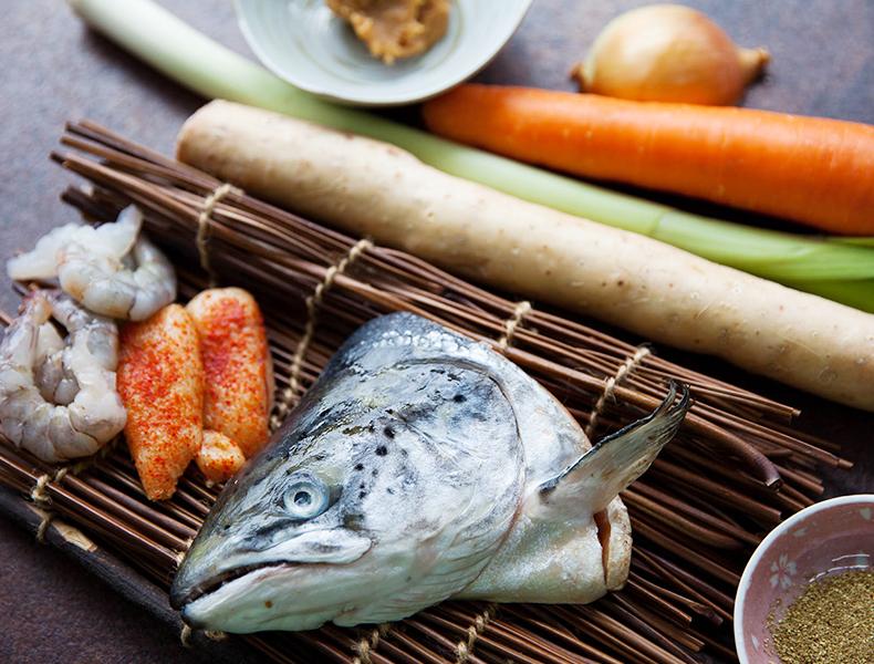 Ingredients used for salmon head tonyu nabe