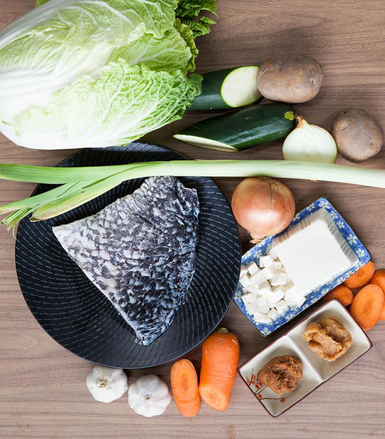 Ingredients for barramundi miso stew
