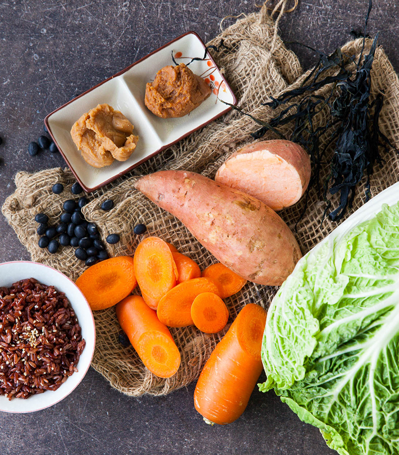 Ingredients use for vegan red rice miso stew with wakame