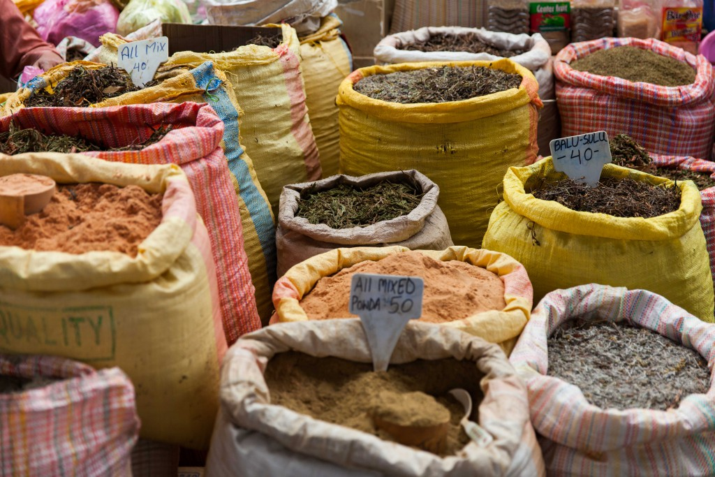 Sacks of spices with alluring smells as you approach.