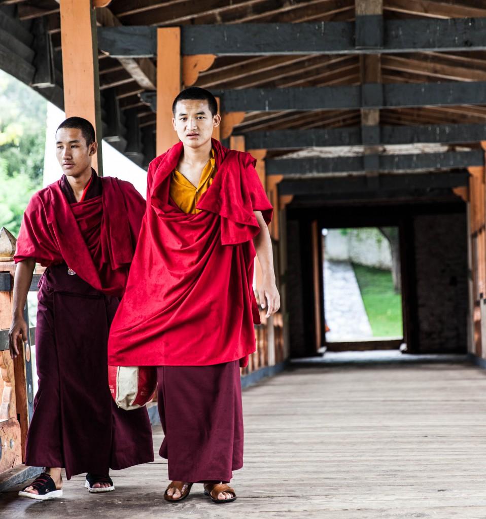 Monks in Punakha Dzong.