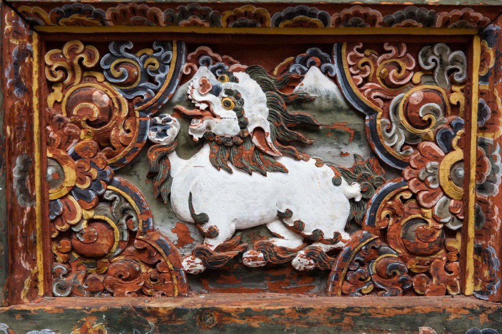 A close up of the many motifs in the Punakha Dzong.