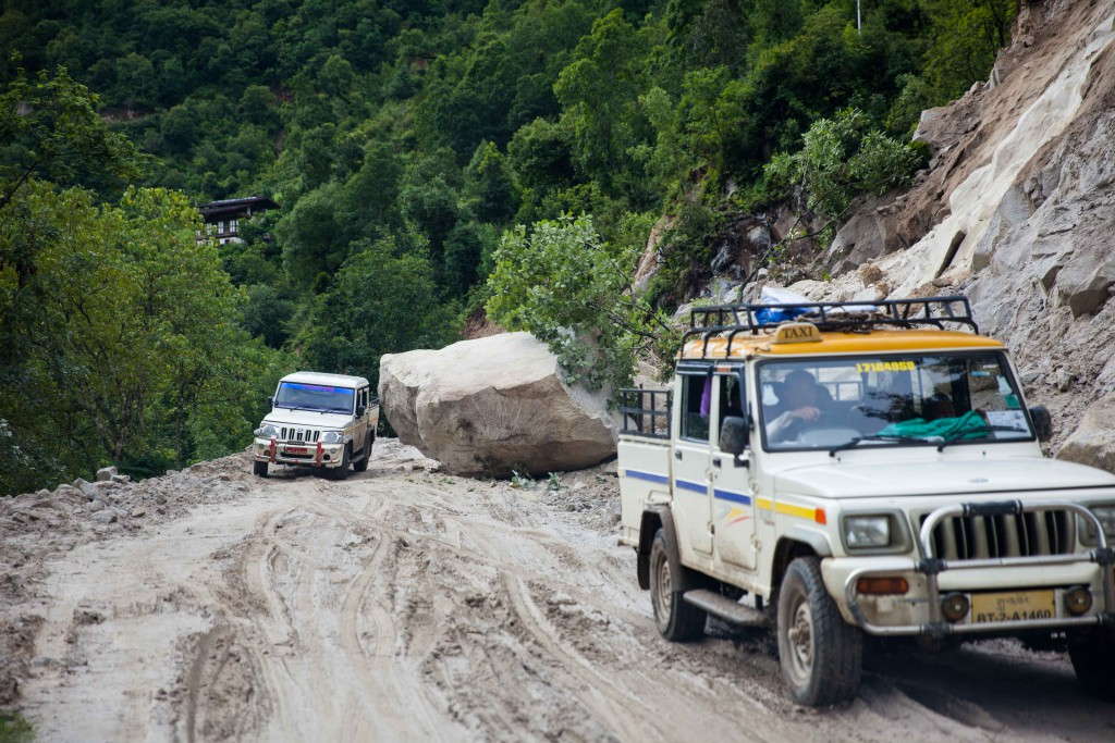 The roads in the mountains undergoing road-widening. Landslides are common, but accidents are few. Bhutanese are advised not to travel at night and during monsoon seasons.