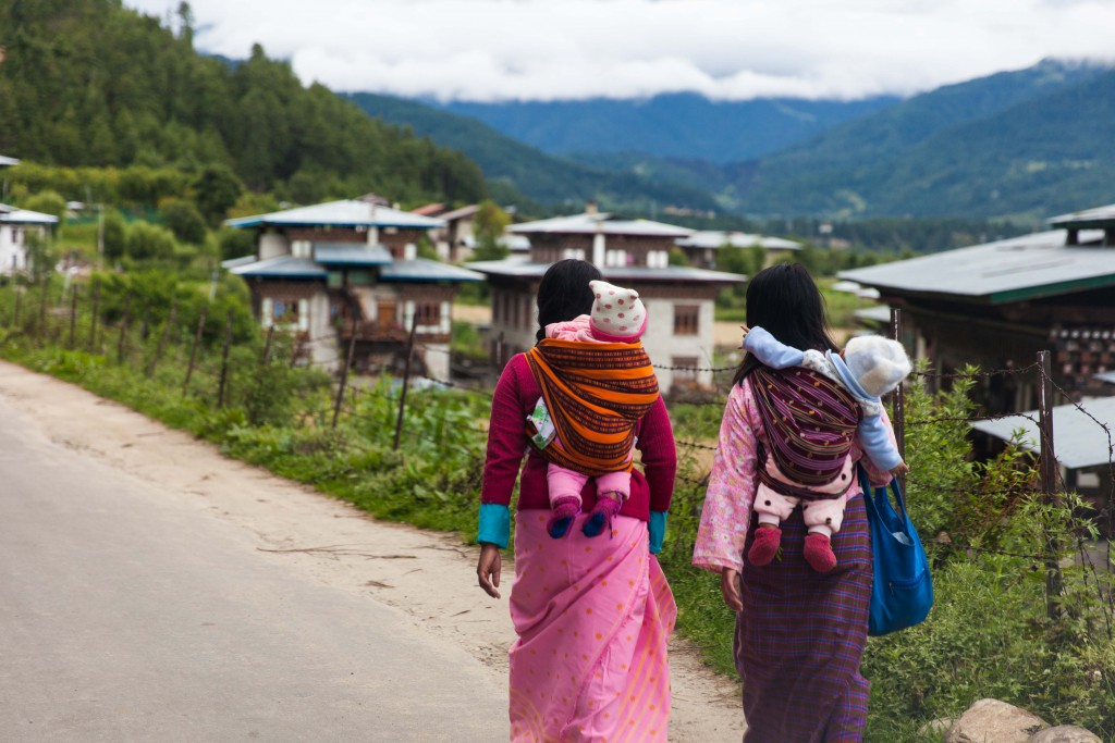 Bhutan's little ways of preserving the environment - many walk for hours a day, babies in tow!
