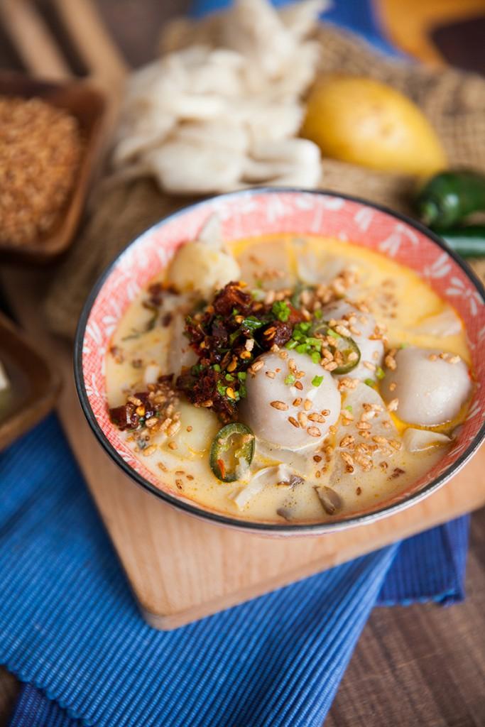 Potato cheese with buckwheat balls