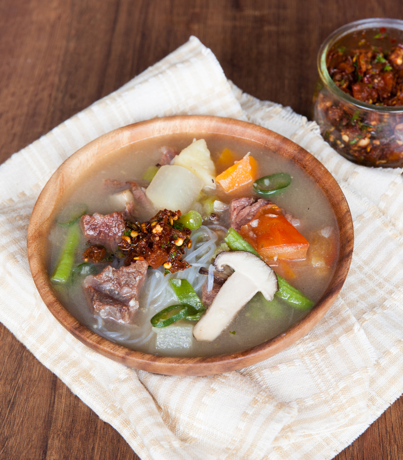 Bhutanese beef with radish and mushroom curry