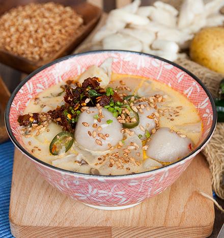 Potato cheese chilli with buckwheat balls