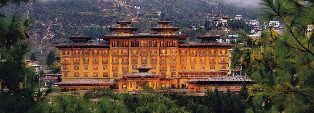 Taj Tashi in Thimphu that stands grandly like a golden castle in the rolling mountains.