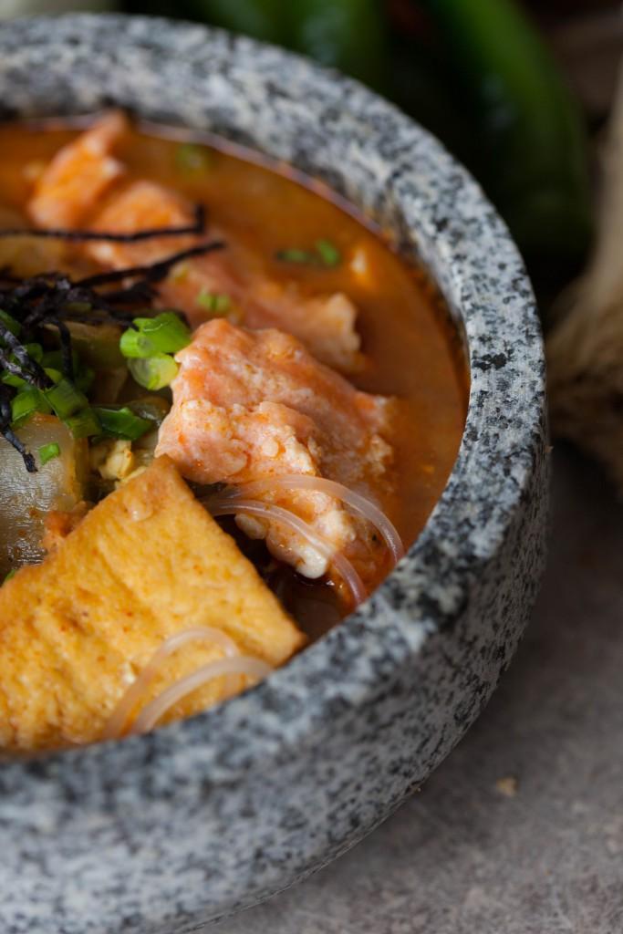 Spicy salmon miso jjigae