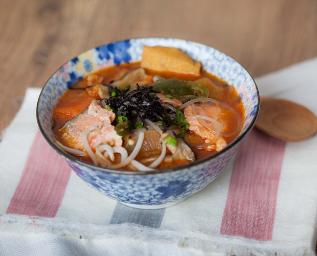 Spicy salmon miso jjigae