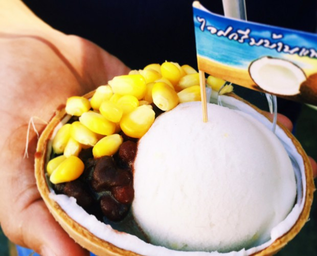 Famous coconut ice cream at the Chatuchak Marke
