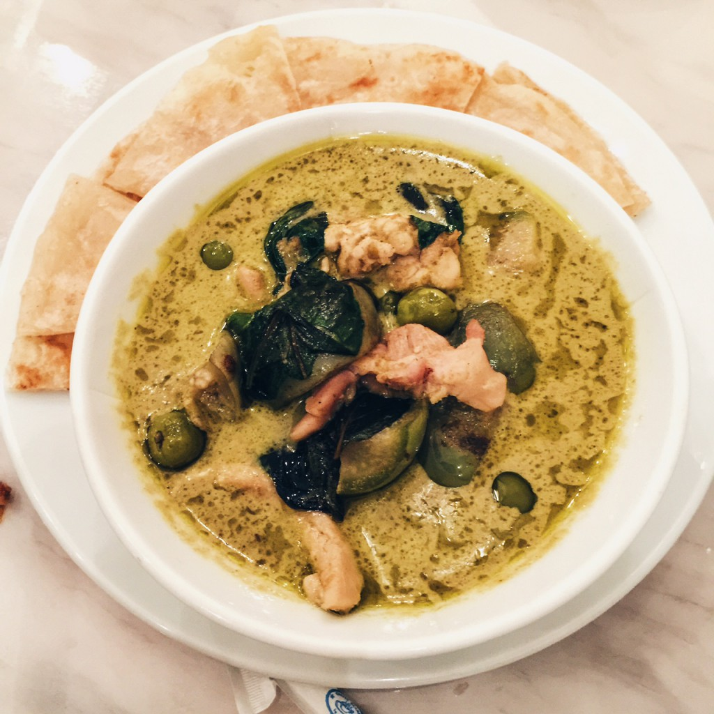 Thai green chicken curry commonly eaten in Thailand