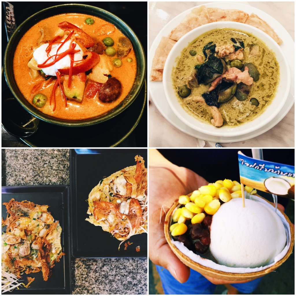Snapshots of popular Thai food ranging from red curry to coconut icecream