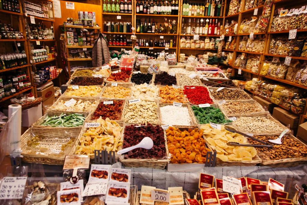 Spices and dried herbs at the market