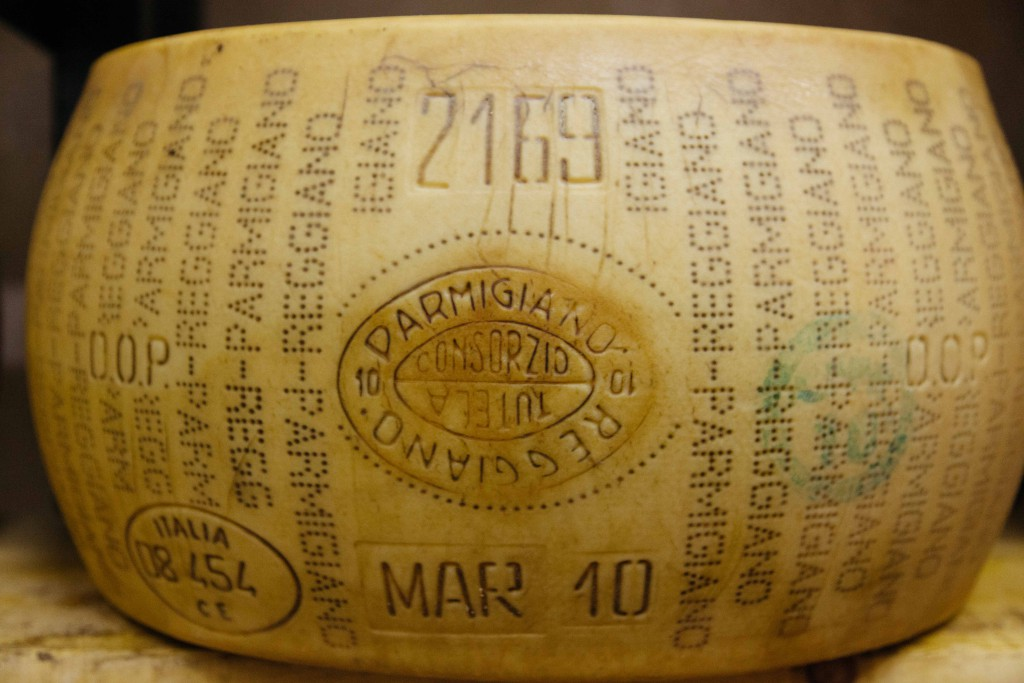A wheel of Parmagiano Regiano which has been aged for 2 years
