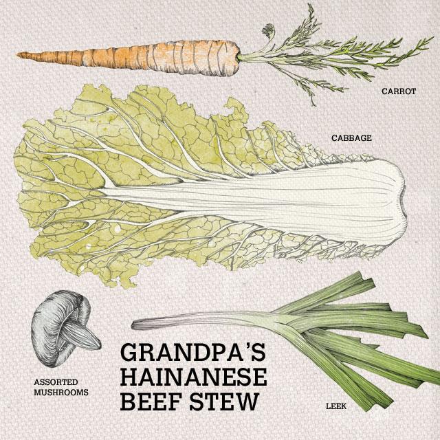 Ingredients used in Grandpa's Hainanese Beef Stew