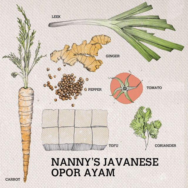 Ingredients used for Nanny's Javanese Opor Ayam