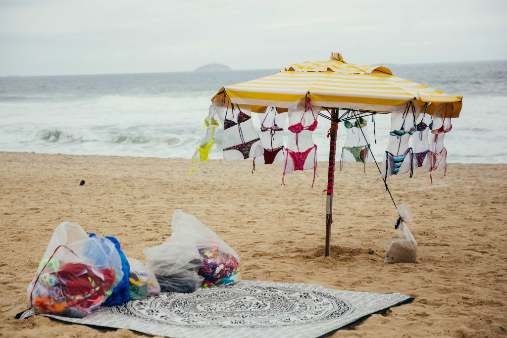 Ipanema Beach: Our days in Rio were chilly and all that was on the beach were bikinis sans babes.