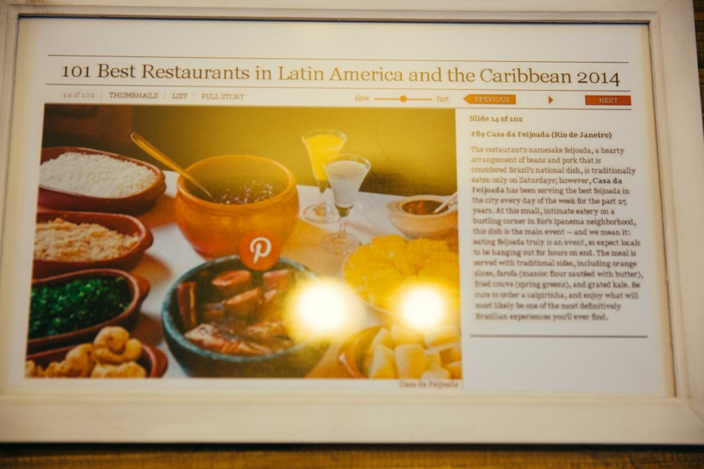We just had to take a pic of this, proudly hanging on the wall at the entrance as one of the best restaurants in Latin America and the Carribbean in 2014! The food was just so good and hearty, everything we needed on a cool rainy day at 21 C