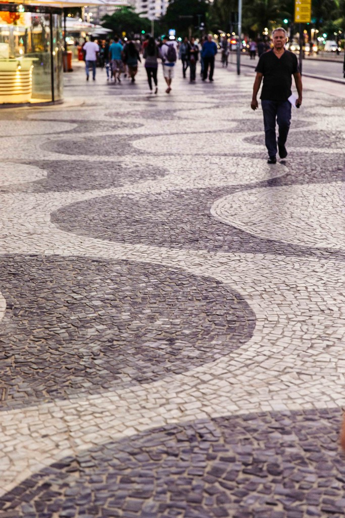 The iconic black and white side walk pattern of wave at Copacabana beach. THis pattern is different from the ones with Ipanema. Today, most cities like Sao Paulo have replaced these tiles with cheaper alternatives.