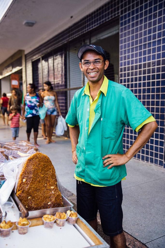 Vendor Lucimero at his coconut snack stall.