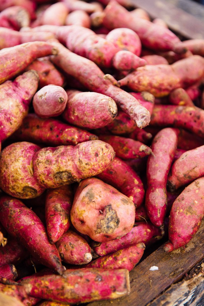 The markets in Brazil are a plethora of colours. Seen here are sweet potatoes, which inspired me to use this ingredient for Vegan Caldinho